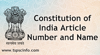Constitution of India Article number and name