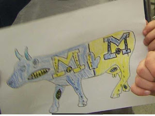 """Middle school student drawing of """"Cows on Parade"""""""