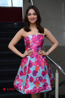 Actress Tamanna Latest Images in Floral Short Dress at Okkadochadu Movie Promotions  0015.JPG