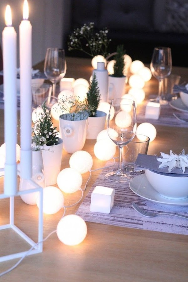 Guirnalda de luces para la mesa de Navidad