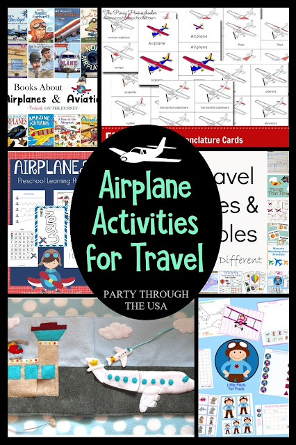 Some kids just really love airplanes.  Here are some great plane themed activities that are suitable for air travel and learning time at home