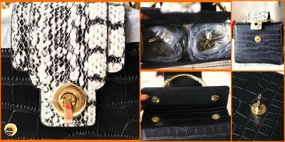 what's in my bag ft Baginning website review and black crocodile printed snakeskin strap leather satchel handbag review
