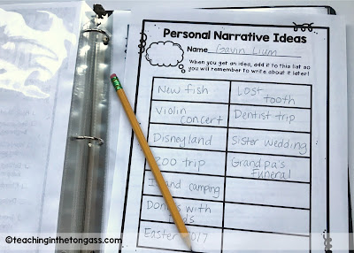 Personal Narrative Ideas List