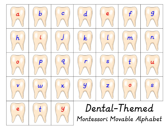 Dental Movable Alphabet Printable from In Our Pond  #teeth  #homeschooling  #dentist  #montessori  #3partcards  #dentalunit  #toothfairy
