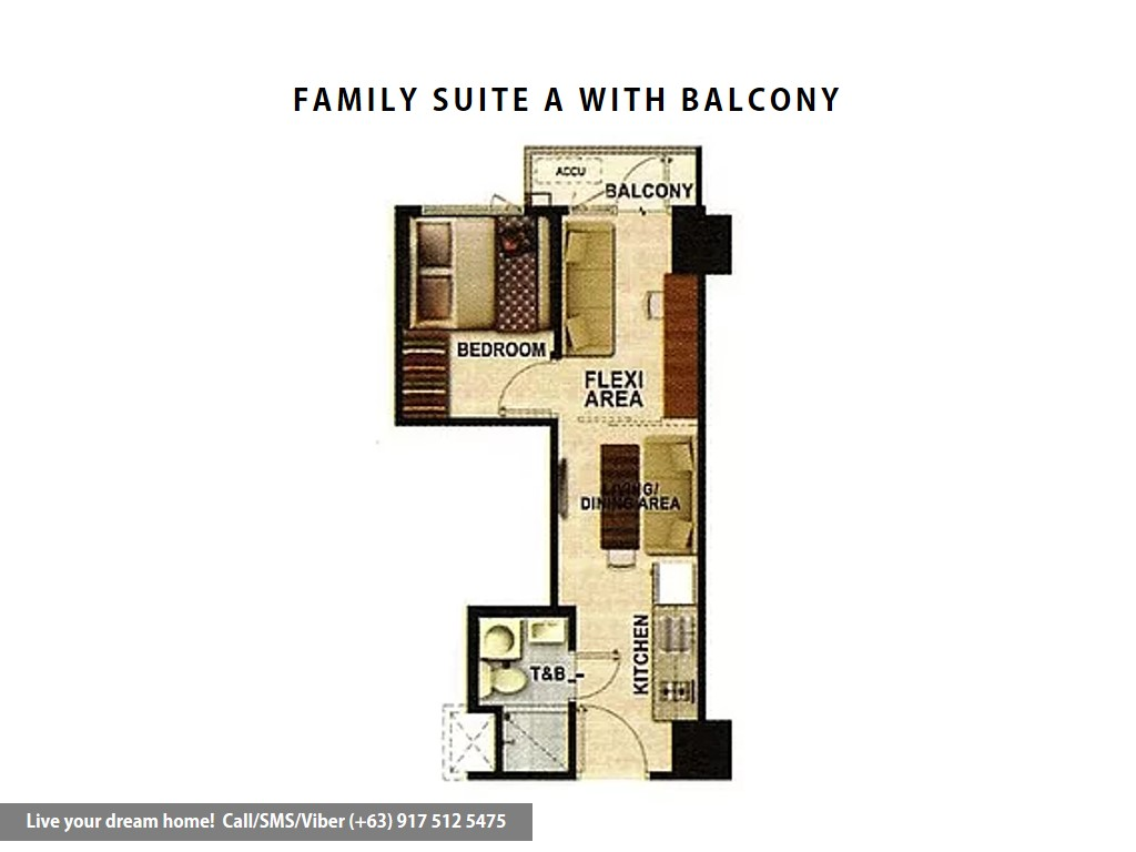 Floor Plan of SMDC Shore 3 Residences - Family Suite A With Balcony | Condominium for Sale SM Mall of Asia Pasay
