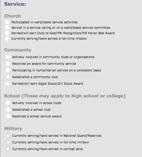 byu application series part discovering byu  for the majority of it you just check the boxes that apply to you there is a short answer section here are screenshots of all the things they ask