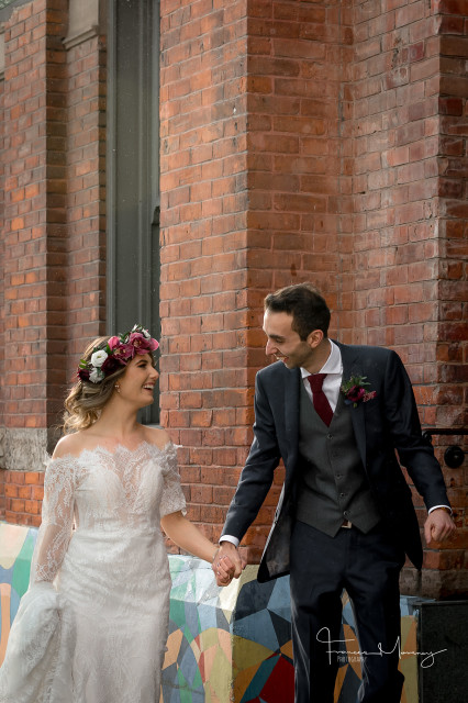 bride groom gladstone hotel wedding flower crown pnk white burgundy