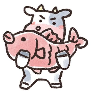 鯛を持ち上げる牛のイラスト(丑年)