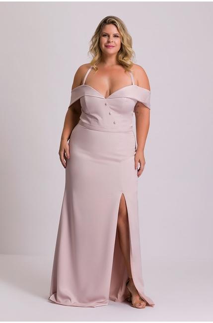 vestido longo rose fluido plus size
