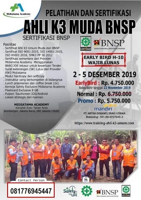 Ahli K3 Muda BNSP tgl. 2-5 Desember 2019 di Jakarta (utk SMA)