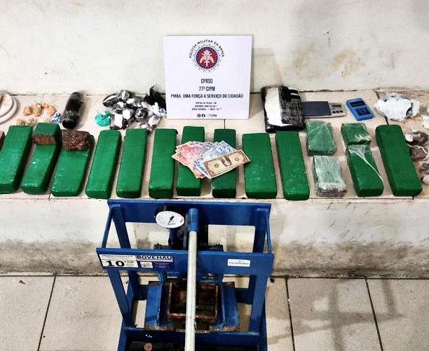 Vitória da Conquista: 77ª CIPM prende traficante e apreende 11 Kg de drogas