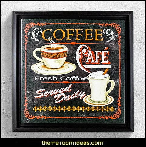 Coffee Café' Framed Vintage Advertisement  coffee theme decor - coffee themed decorating ideas - coffee themed kitchen decorations - coffee cup theme in the kitchen - coffee kitchen decor - coffee wall decal stickers - coffee cafe decor - coffee wallpaper murals - Barista tools  coffee cafe
