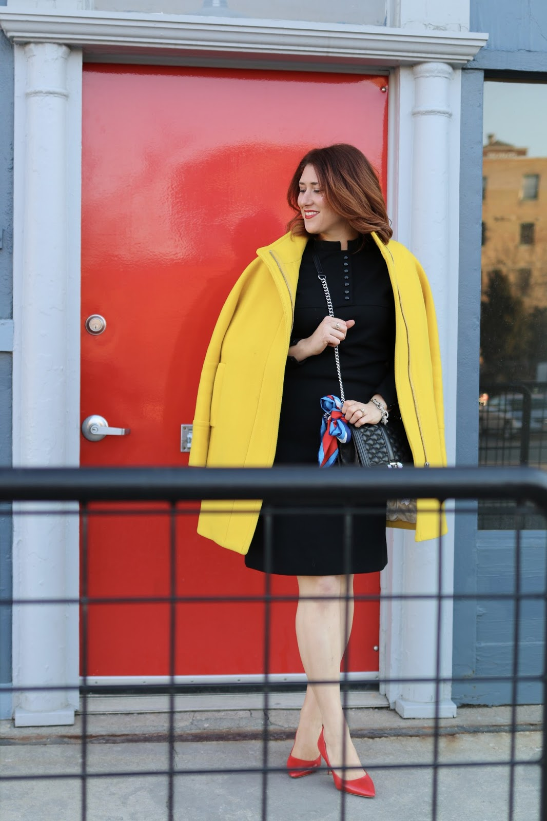 LBD, Red hair, winter dress. dress with sleeves, red hairstyle, yellow cocoon coat j crew, red heels, comfortable heels, rebecca minkoff love cross body, vintage black dress