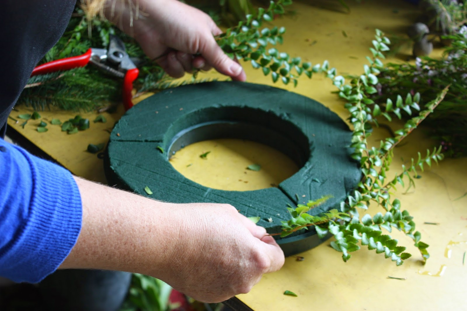 How to make a fresh christmas wreath - I Like To Begin By Selecting All The Materials I Want To Use And Have Them On The Table Around My Work Space I Love To Create Combinations Of Foliage