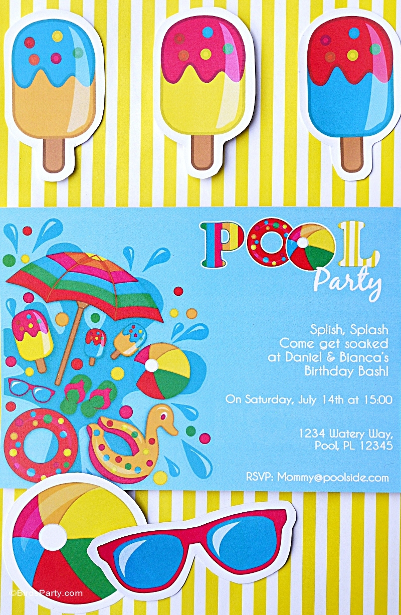 Pool Party Ideas Kids ideas for kids pool parties Pool Party Ideas Printables Kids Summer Party Birdspartycom