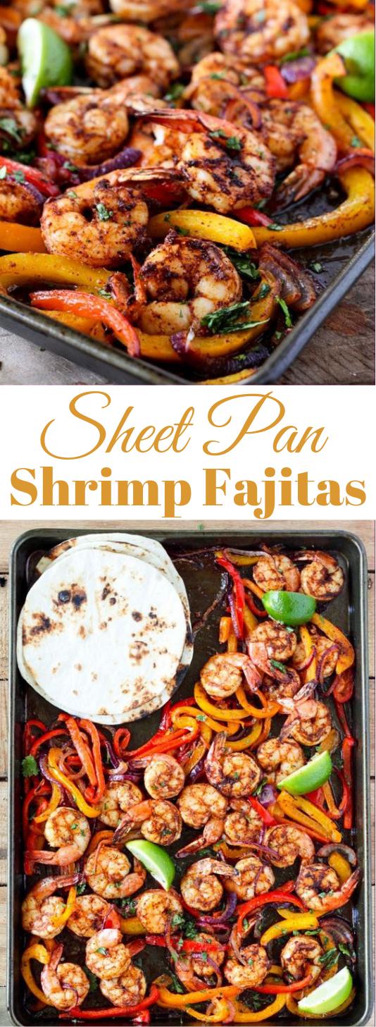 SHEET PAN SHRIMP FAJITAS #dinner #recipe