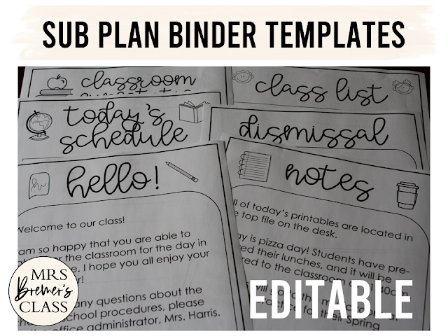 Editable sub plans binder templates! This pack includes 24 editable templates to use when you are away and need a sub. Lots of pages are included, to ensure that your sub is fully informed about school procedures, your classroom, emergency situations, and what to cover while you are away. #subplans #subbinder #bindertemplates #teaching #teacherhelpers #teachingideas #backtoschool #classroom