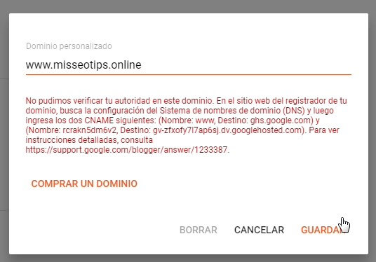 Como agregar un dominio personalizado en Blogger