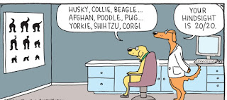 A cartoon of 2 dogs looking at a chart on the wall.
