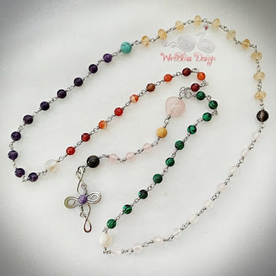 Wire Wrapped Rosary with Mixed Gemstones - whole