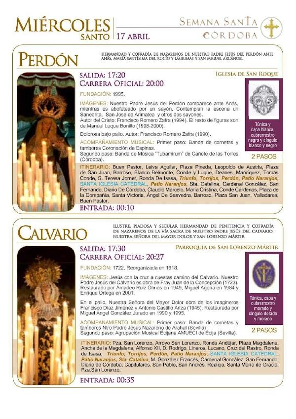 Horarios e Itinerarios Miércoles Santo Semana Santa de Córdoba 2019