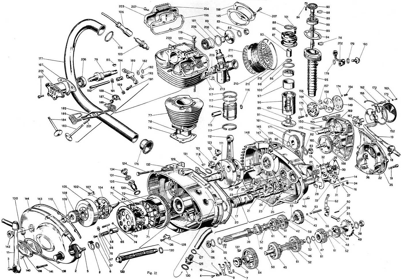 vintage car engine diagram