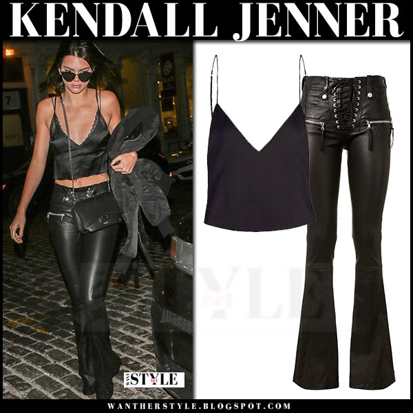 Kendall Jenner in black silk cami top and black leather flare pants unravel what she wore