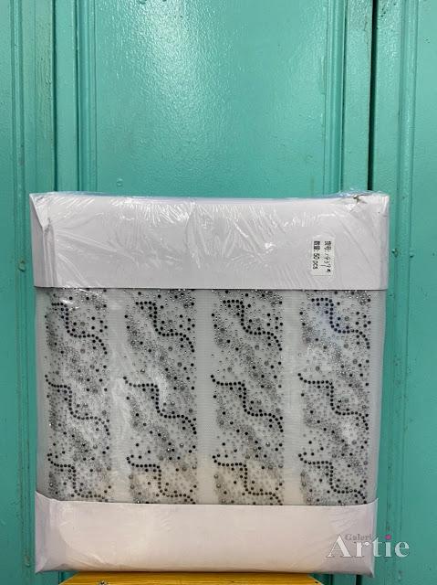 Pelekat hotfix sticker rhinestone DMC aplikasi tudung, bawal fabrik pakaian corak lilitan dengan fade kombo biru silver