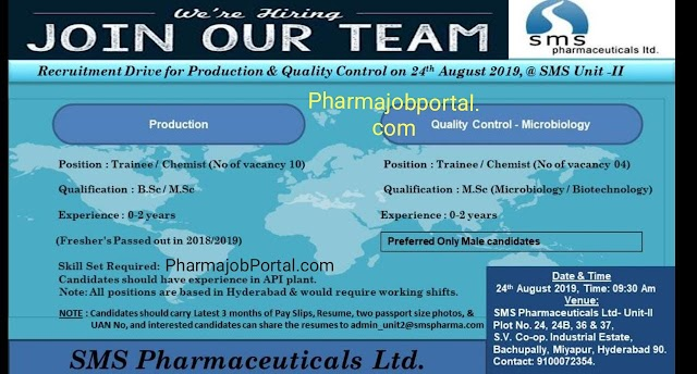Sms Pharmaceutical walk in interview for Production / Qc on 24th August 2019