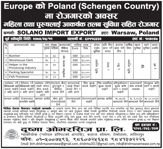 Jobs in Poland for Nepali, Salary Rs 60,000