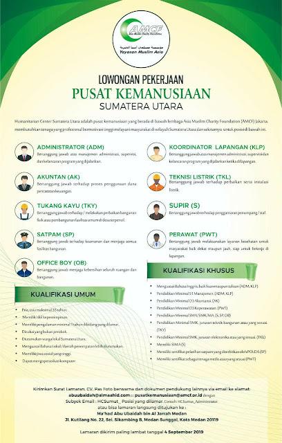 Lowongan Pekerjaan dari Pusat Kemanusiaan Sumatera Utara