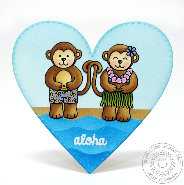 Sunny Studio: Aloha Monkey heart shaped card by Mendi Yoshikawa (using Comfy Creatures stamps, Island Getaway stamps, Wavy Border dies & Stitched Heart dies)