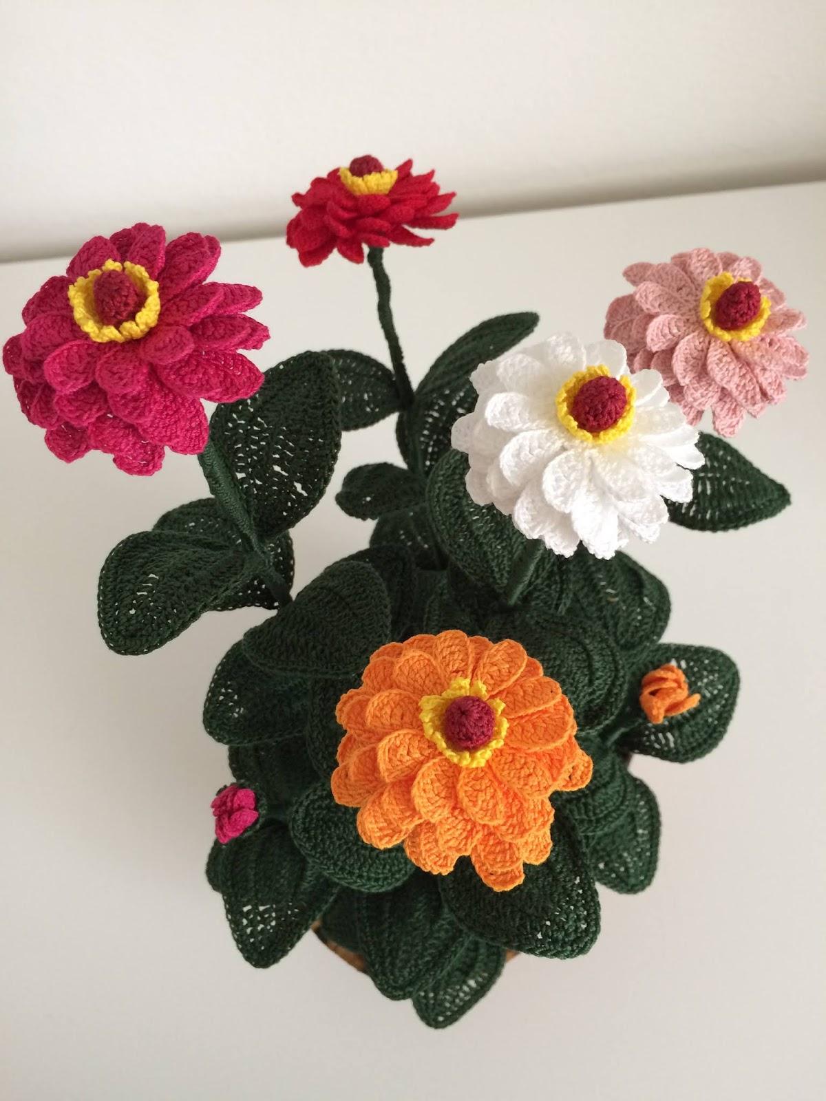 Il blog di sam how to crochet a zinnia for Il blog di sam piante grasse