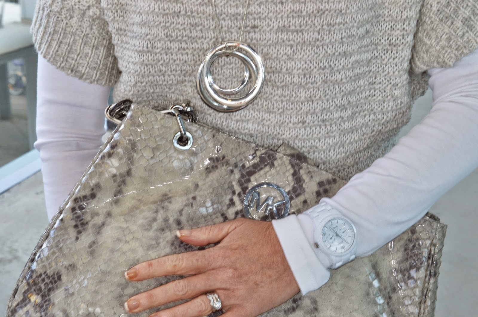 Michael Kors grey tote, Colette by Colette Hayman necklace. grey sweater, guess watch