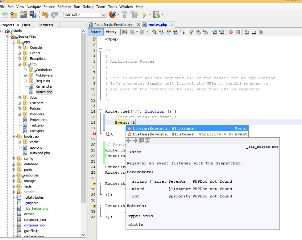 Mugunth's Blog: How to enable code completion for Laravel 5 in Netbeans