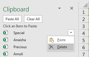 Clipboard delete item