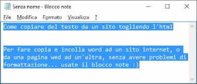 Come copiare del testo da un sito togliendo l'html