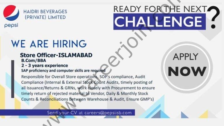 Haidri Beverages Pvt Ltd Jobs Store Officer