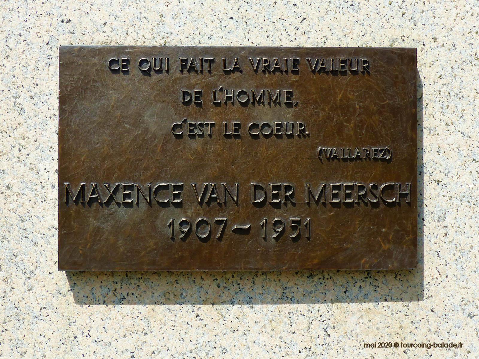 Plaque du Monument Van der Meersch, Wasquehal 2020