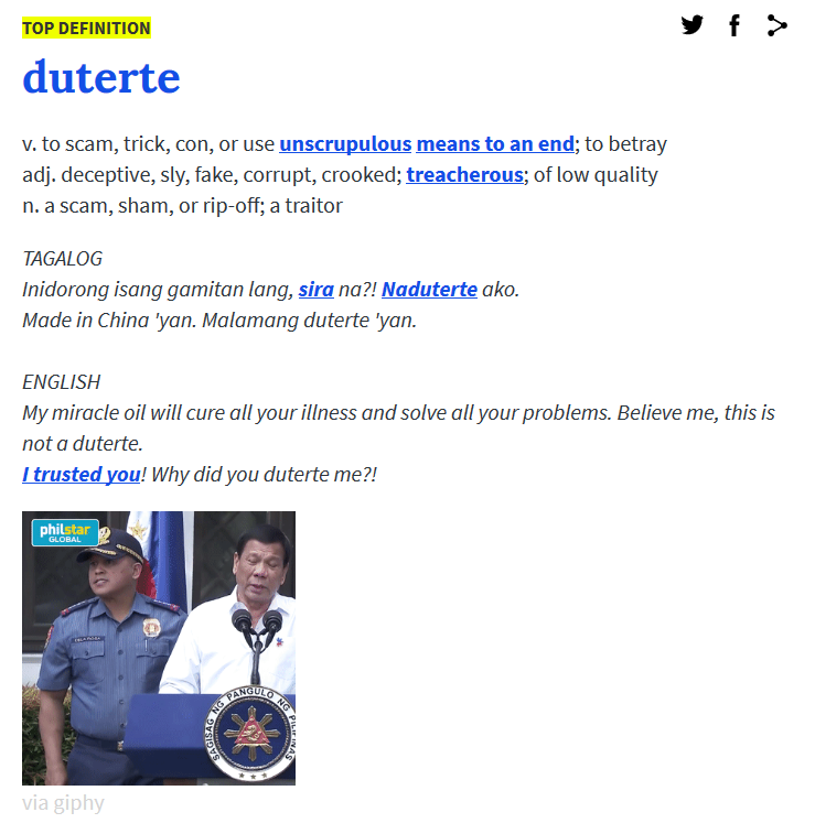duterte, urban dictionary