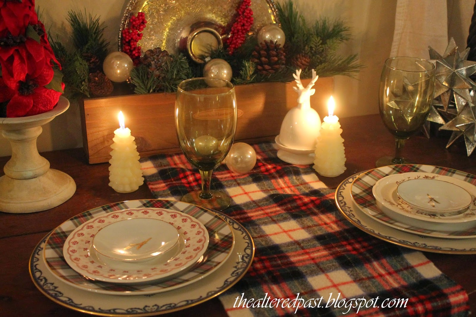 tartan and transferware plate tablescape, the altered past blog