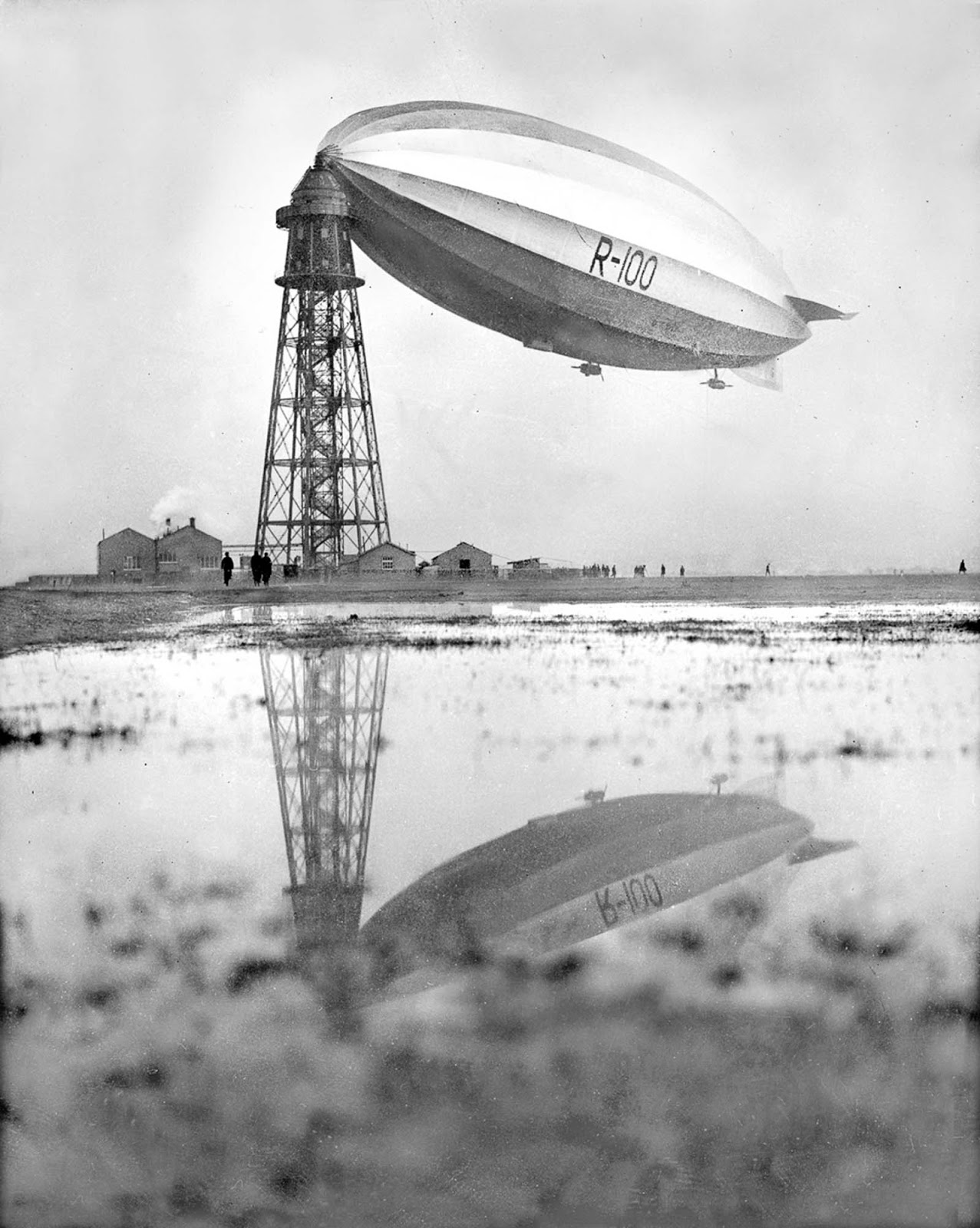 The R-100 moored in Cardington, England. 1929.
