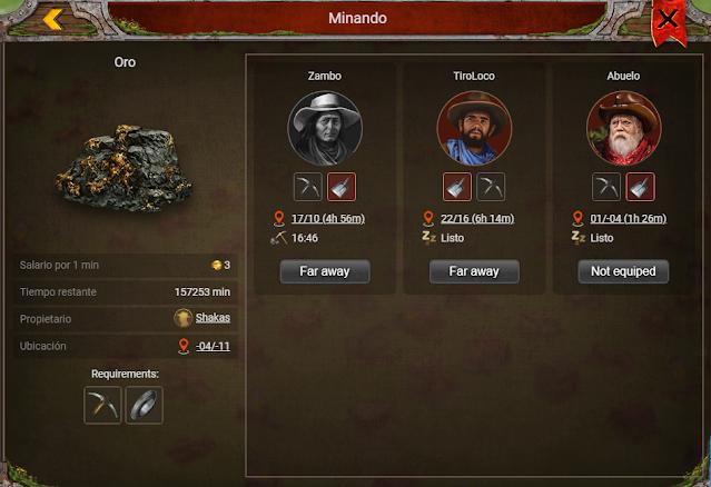Trabajadores en prospectors game