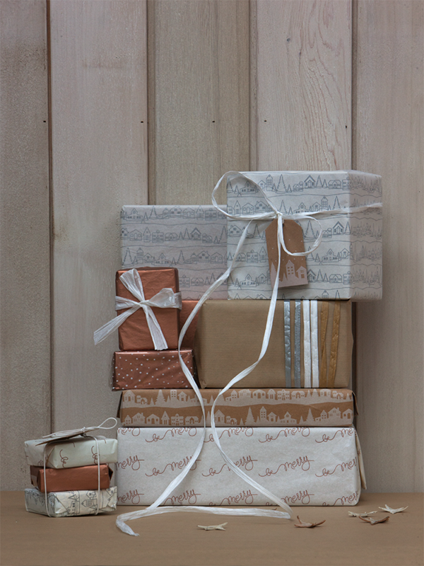 Copper and metallic gift wrap inspiration