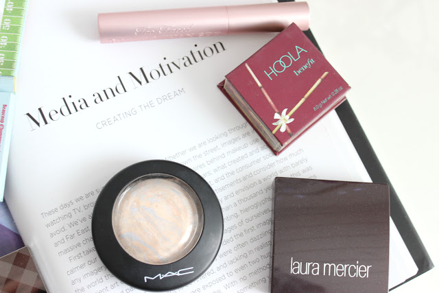 Hourglass ambient lighting palette, too faced chocolate bar, the balm frat boy, benefit hoola, Mac lightscapade, Laura mercier secret camouflage, too faced better than sex