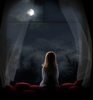 Girl staring at the moon
