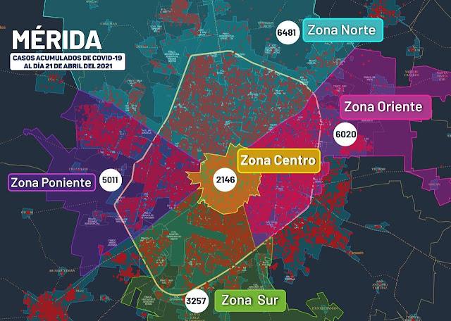 Así está el mapa del #COVID19 en Mérida donde se han diagnosticado 22,915 personas contagiadas de Coronavirus. Gráfica de la SSY