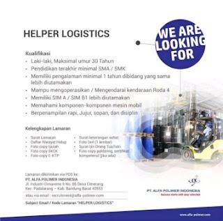 Lowongan kerja Helper PT Alfa Polimer Indonesia 2020