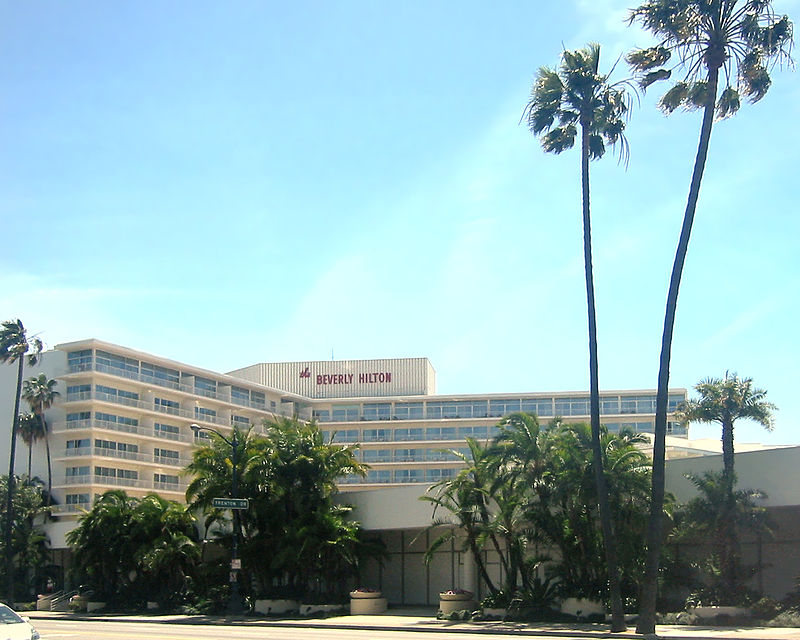 The Beverly Hilton Hotel, where Houston's body was found