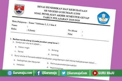 Soal UAS / UKK Kelas 1 Tema 7 Kurikulum 2013 Semester 2
